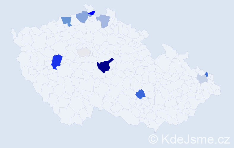Příjmení: 'Dubček', počet výskytů 14 v celé ČR