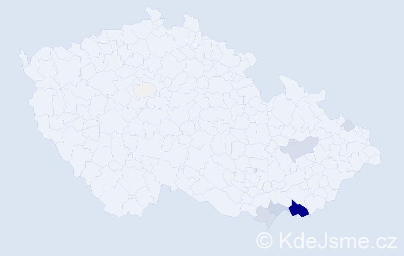 Příjmení: 'Jurena', počet výskytů 48 v celé ČR