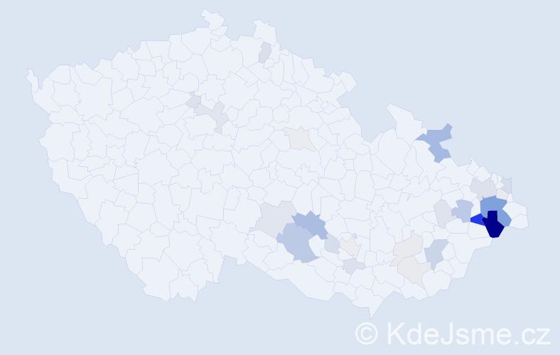 Příjmení: 'Čajánková', počet výskytů 98 v celé ČR