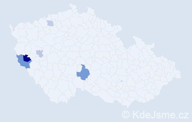 Příjmení: 'Leligdon', počet výskytů 9 v celé ČR