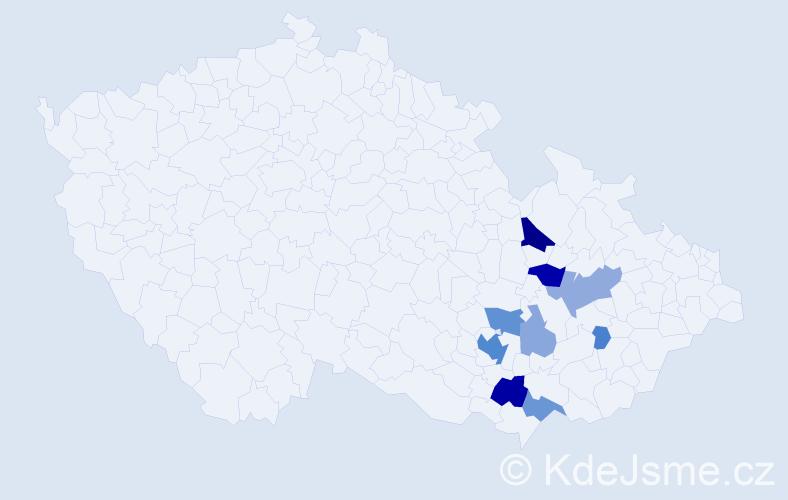 Příjmení: 'Chyťa', počet výskytů 26 v celé ČR