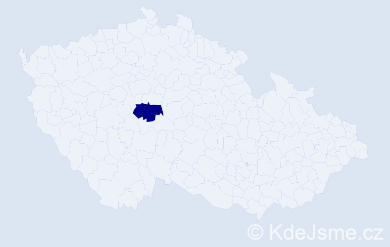 """Příjmení: '""""Christensen Kovačová""""', počet výskytů 1 v celé ČR"""