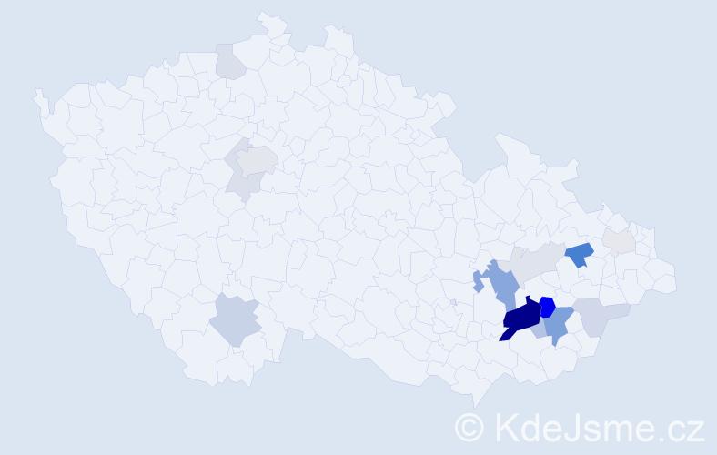 Příjmení: 'Deneš', počet výskytů 42 v celé ČR
