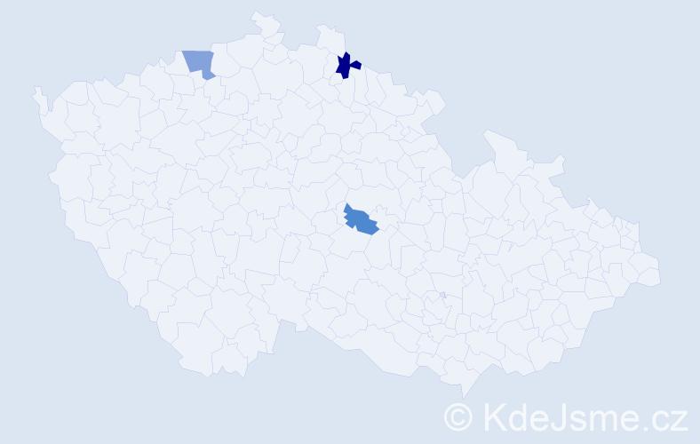 Příjmení: 'Jíněová', počet výskytů 5 v celé ČR