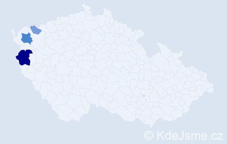 Příjmení: 'Kardiánová', počet výskytů 9 v celé ČR
