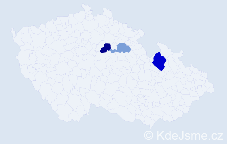 Příjmení: 'Croft', počet výskytů 4 v celé ČR