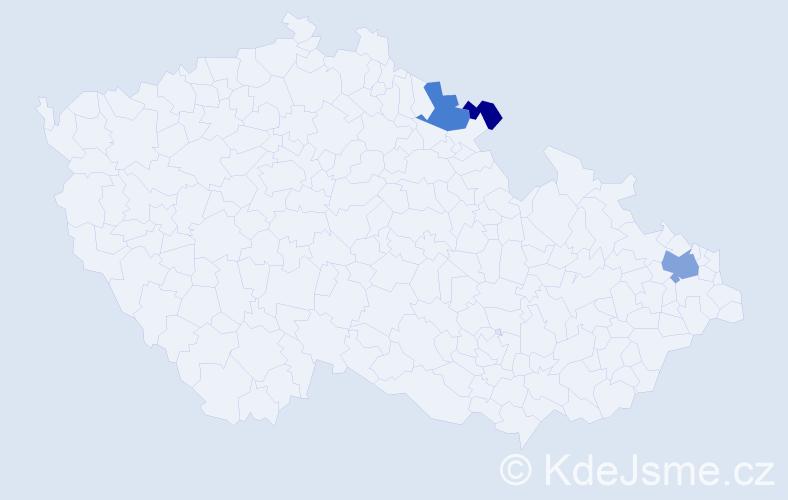 Příjmení: 'Kubeová', počet výskytů 6 v celé ČR