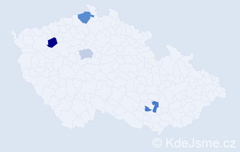 Příjmení: 'Čislák', počet výskytů 9 v celé ČR