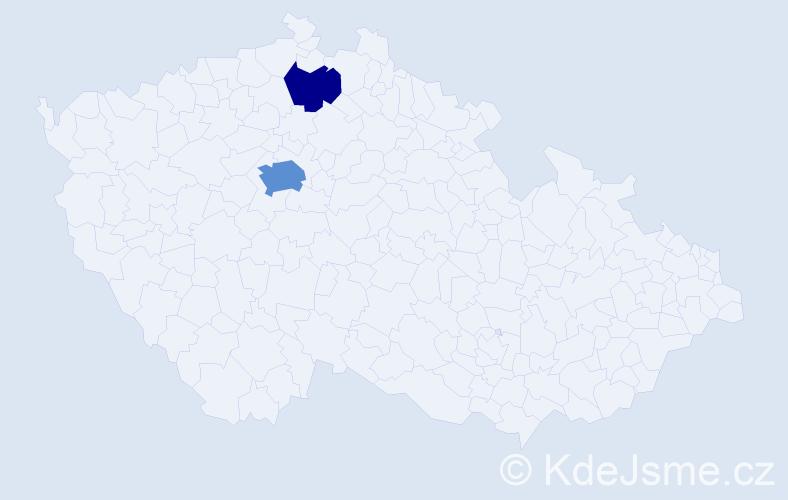 Příjmení: 'Cain', počet výskytů 5 v celé ČR