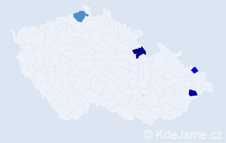 Příjmení: 'Čuchtová', počet výskytů 4 v celé ČR