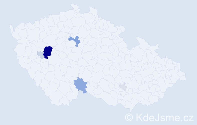 Příjmení: 'Endres', počet výskytů 10 v celé ČR