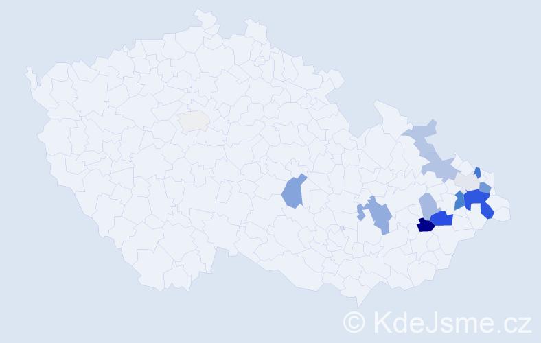 Příjmení: 'Čtvrtková', počet výskytů 41 v celé ČR