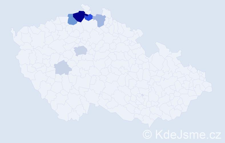 Příjmení: 'Kny', počet výskytů 36 v celé ČR