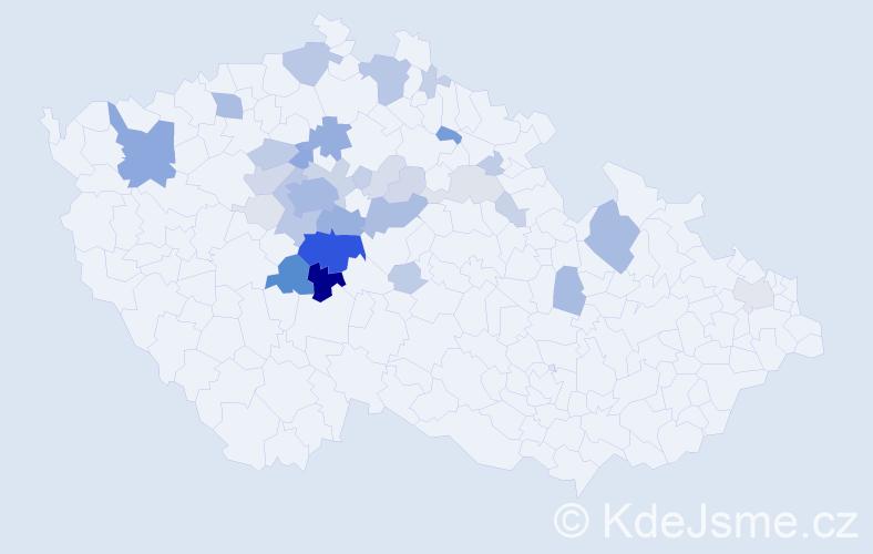 Příjmení: 'Brejla', počet výskytů 153 v celé ČR