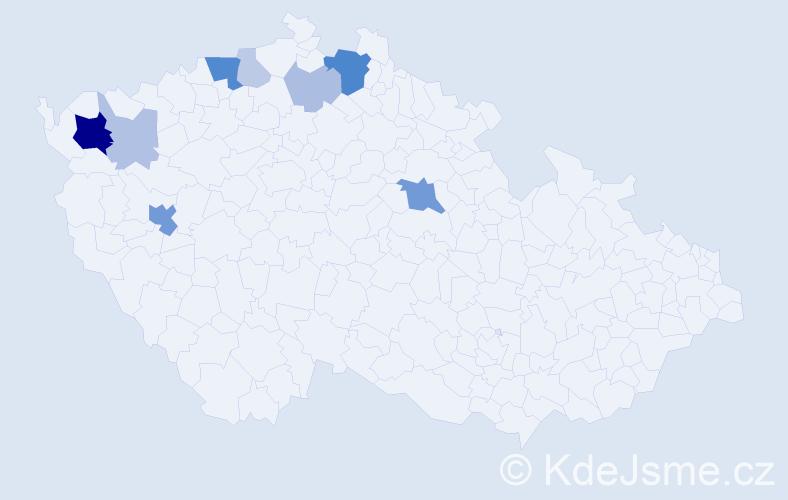 Příjmení: 'Ehm', počet výskytů 26 v celé ČR