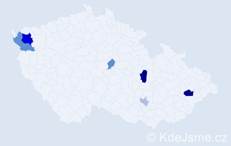 """Příjmení: '""""De Luca""""', počet výskytů 20 v celé ČR"""