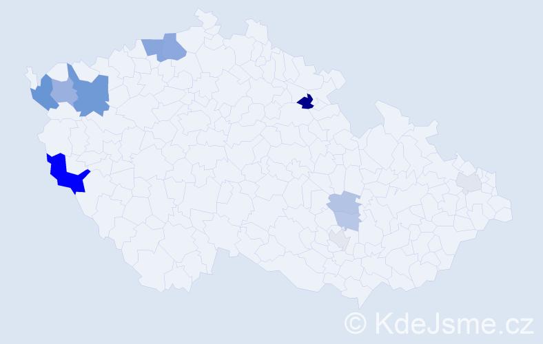 Příjmení: 'Čáni', počet výskytů 27 v celé ČR
