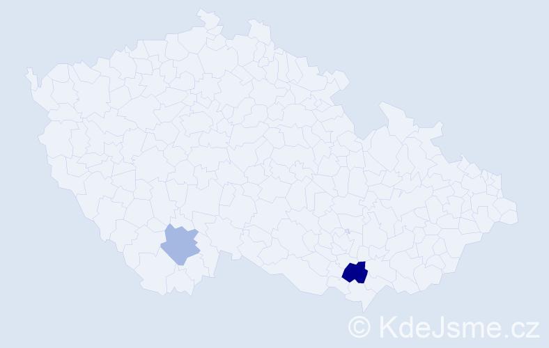 Příjmení: 'Cody', počet výskytů 3 v celé ČR
