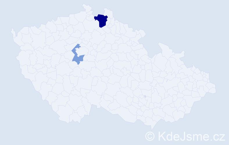 Příjmení: 'Řehna', počet výskytů 5 v celé ČR