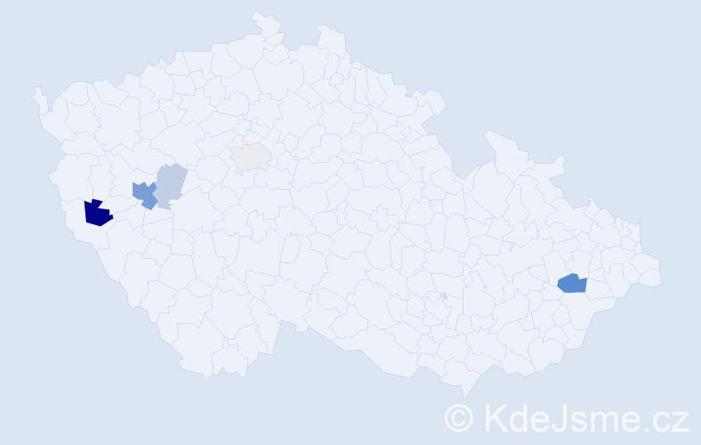 Příjmení: 'Cvalínová', počet výskytů 18 v celé ČR