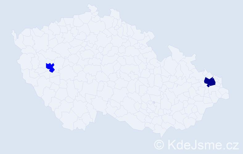 Příjmení: 'Kytová', počet výskytů 3 v celé ČR