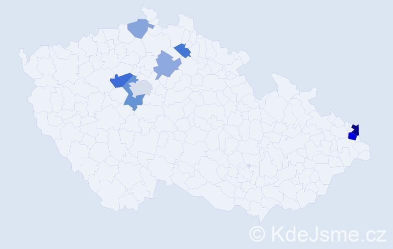 Příjmení: 'Lenghart', počet výskytů 18 v celé ČR
