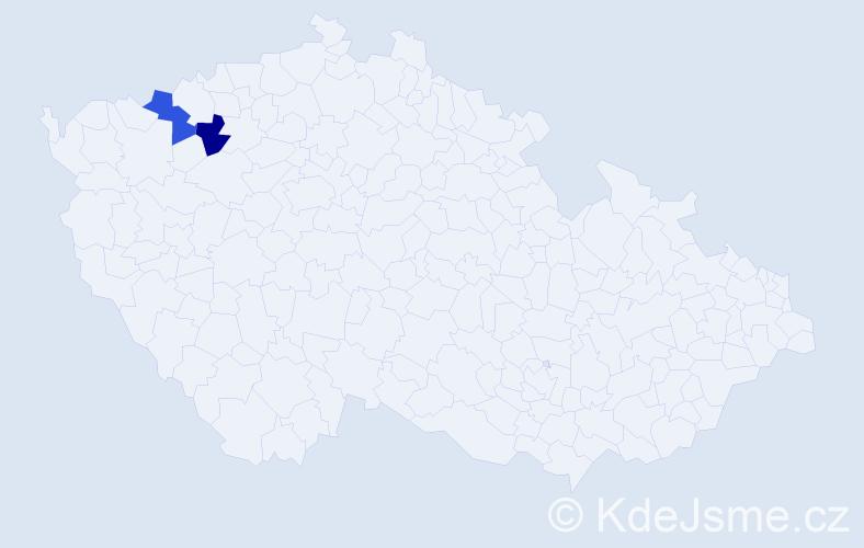 Příjmení: 'Hakavý', počet výskytů 2 v celé ČR