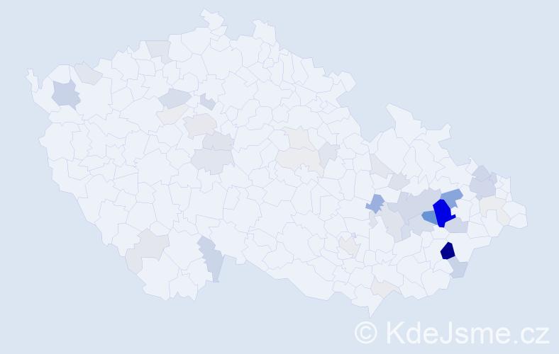 Příjmení: 'Čočková', počet výskytů 144 v celé ČR