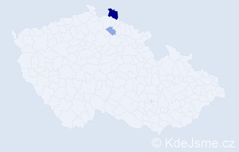 Příjmení: 'Lecká', počet výskytů 5 v celé ČR