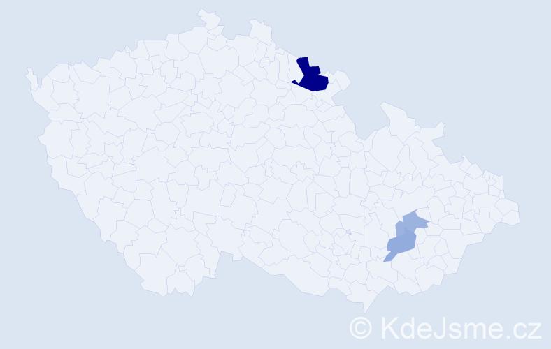 Příjmení: 'Bašák', počet výskytů 7 v celé ČR