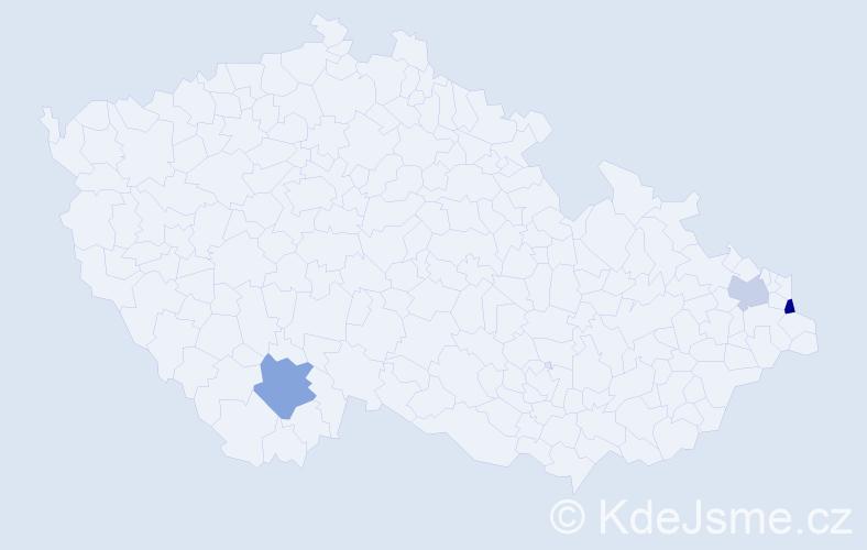 Příjmení: 'Kollarczyk', počet výskytů 8 v celé ČR
