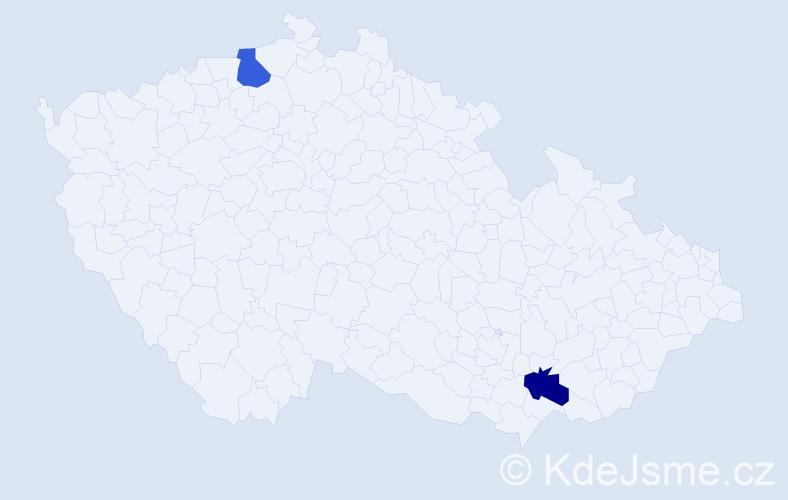 Příjmení: 'Glod', počet výskytů 4 v celé ČR