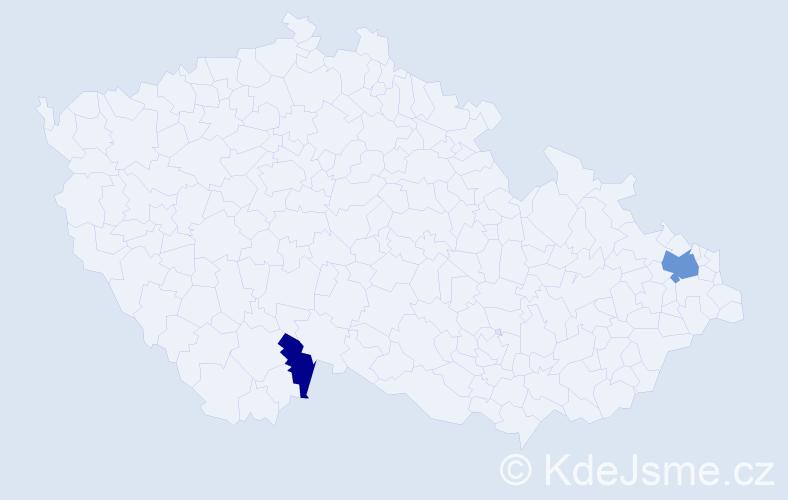 Příjmení: 'Angus', počet výskytů 4 v celé ČR