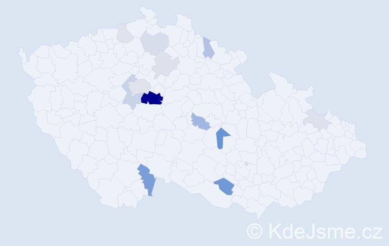 Příjmení: 'Hofta', počet výskytů 36 v celé ČR