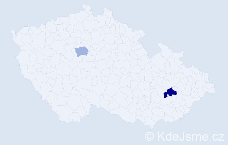 Příjmení: 'Dynžíková', počet výskytů 5 v celé ČR