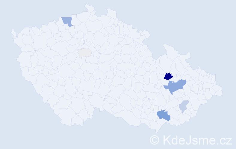 Příjmení: 'Kavulič', počet výskytů 12 v celé ČR