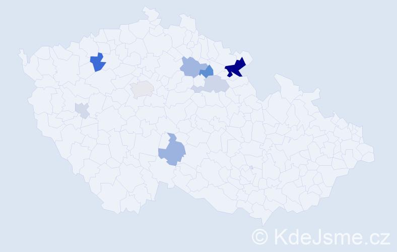Příjmení: 'Houšťková', počet výskytů 17 v celé ČR