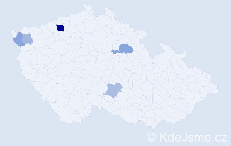 Příjmení: 'Dodávka', počet výskytů 11 v celé ČR