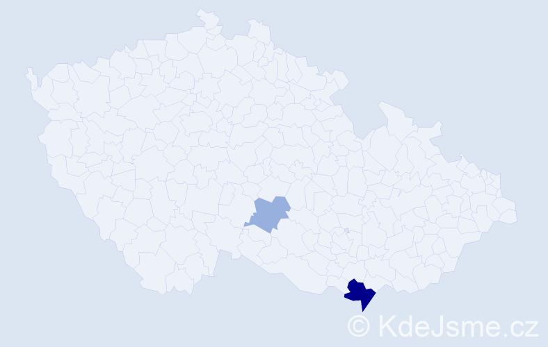Příjmení: 'Hadbabný', počet výskytů 5 v celé ČR