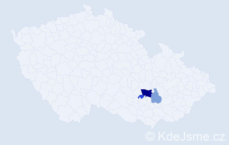 Příjmení: 'Dečko', počet výskytů 6 v celé ČR