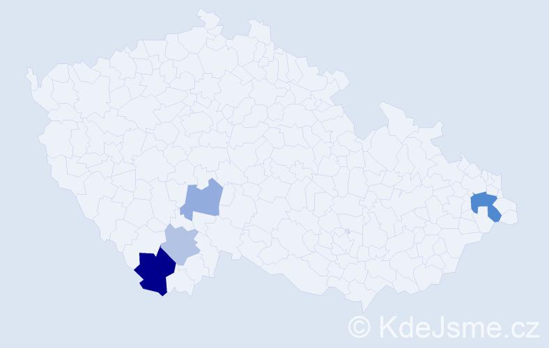 Příjmení: 'Dauteová', počet výskytů 8 v celé ČR