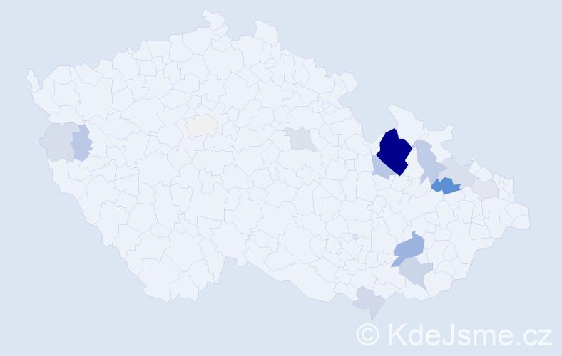 Příjmení: 'Hetmánková', počet výskytů 63 v celé ČR