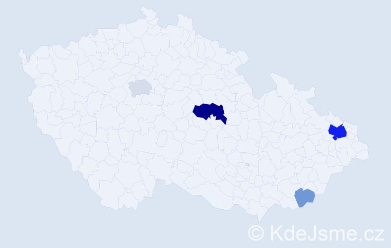 Příjmení: 'Čajčík', počet výskytů 15 v celé ČR