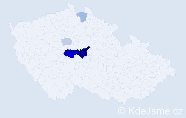 Příjmení: 'Kamelská', počet výskytů 11 v celé ČR