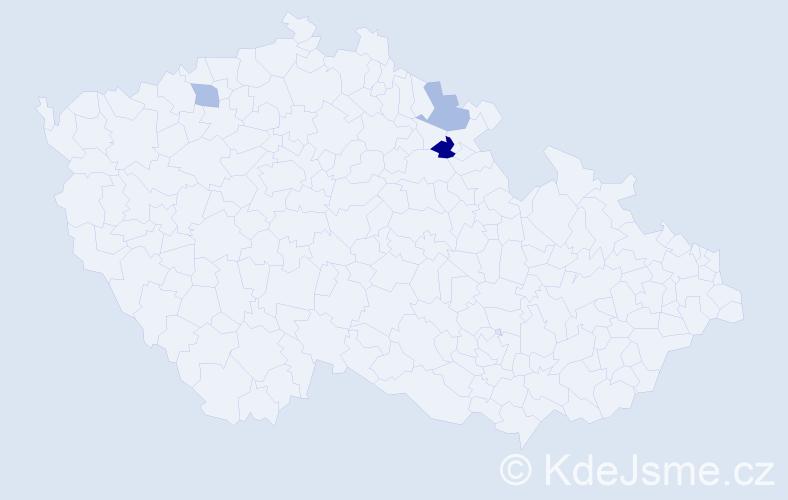 Příjmení: 'Čibčala', počet výskytů 4 v celé ČR