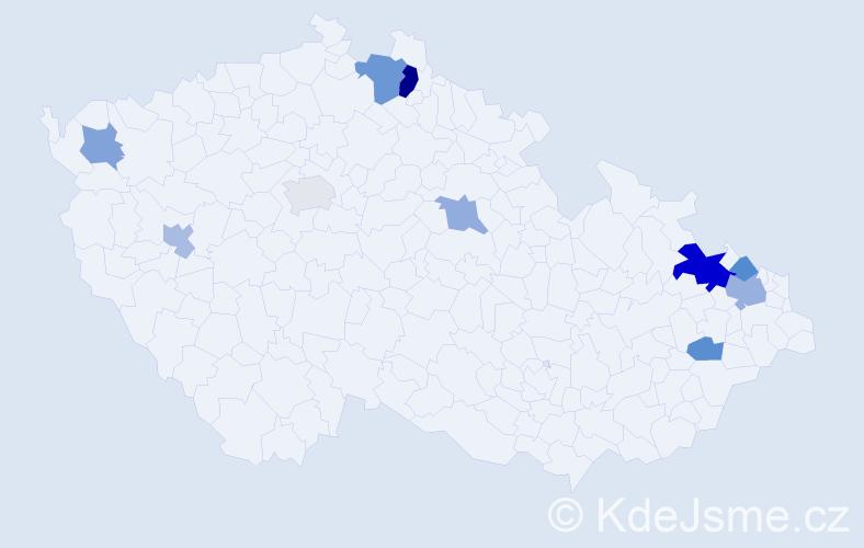 Příjmení: 'Česlová', počet výskytů 17 v celé ČR