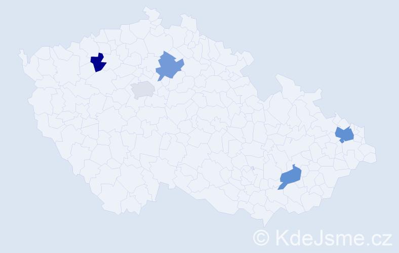 Příjmení: 'Basa', počet výskytů 7 v celé ČR