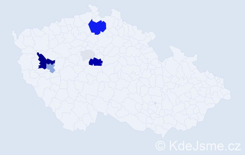 Příjmení: 'Čekelská', počet výskytů 8 v celé ČR