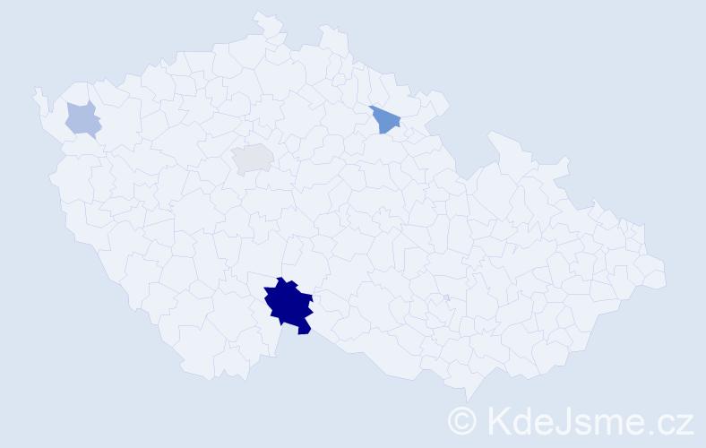 Příjmení: 'Lakronová', počet výskytů 9 v celé ČR