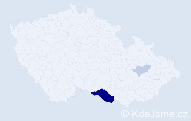 Příjmení: 'Kmotorková', počet výskytů 8 v celé ČR